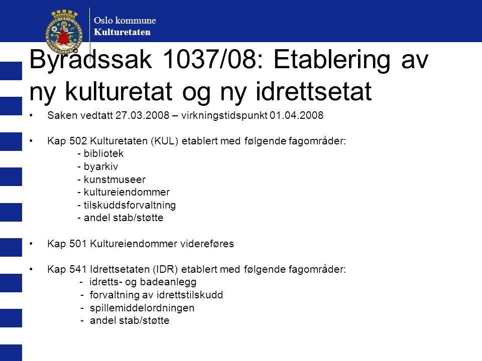 Oslo kommune Kulturetaten Byrådssak 1037/08: Etablering av ny kulturetat og ny idrettsetat Saken vedtatt 27.03.2008 – virkningstidspunkt 01.04.2008 Ka
