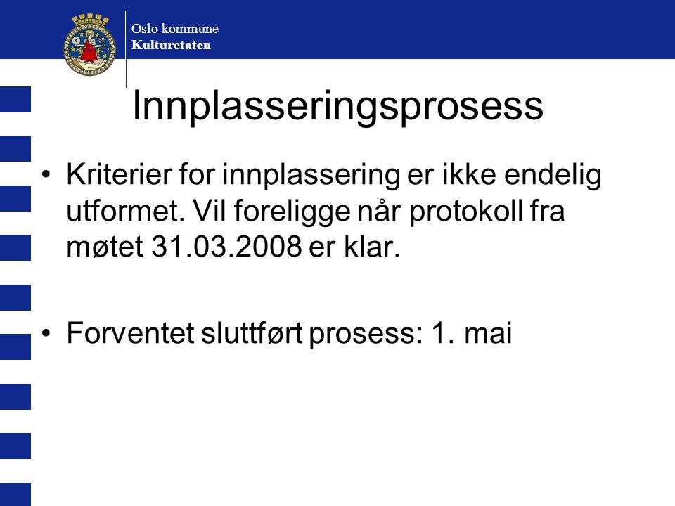 Oslo kommune Kulturetaten Innplasseringsprosess Kriterier for innplassering er ikke endelig utformet. Vil foreligge når protokoll fra møtet 31.03.2008
