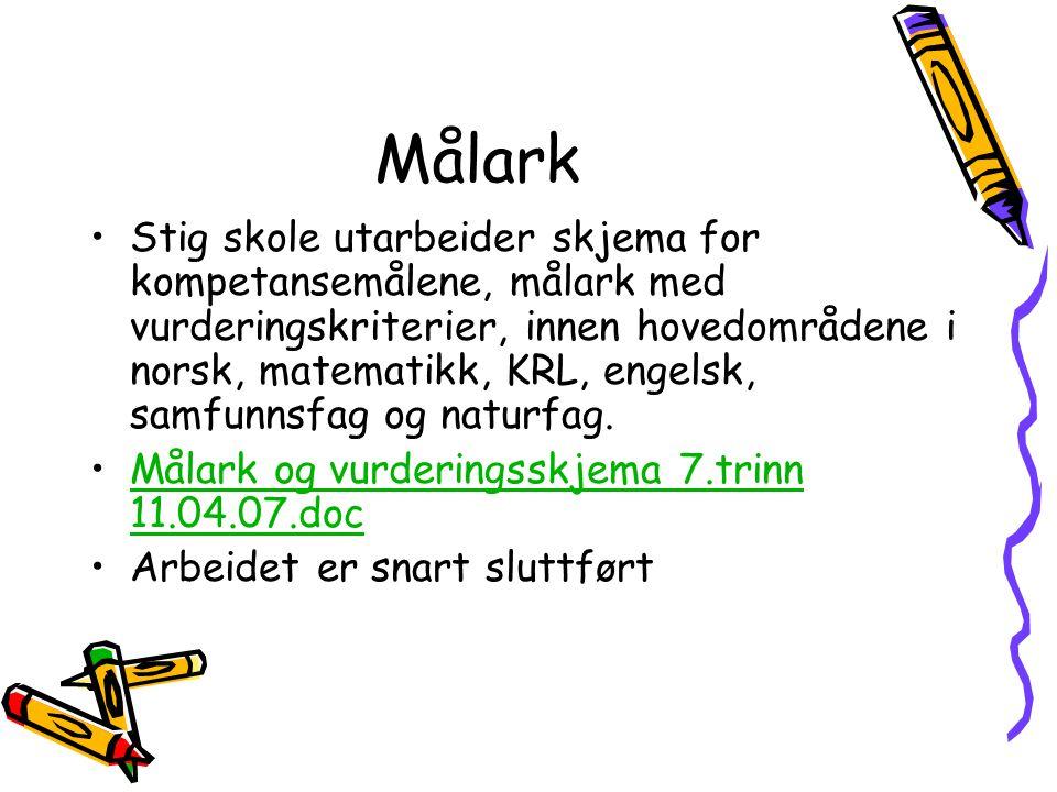 Målark Stig skole utarbeider skjema for kompetansemålene, målark med vurderingskriterier, innen hovedområdene i norsk, matematikk, KRL, engelsk, samfu