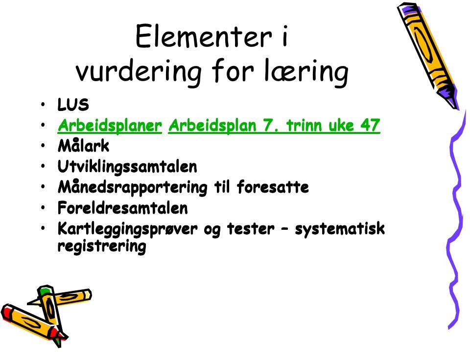 Elementer i vurdering for læring LUS Arbeidsplaner Arbeidsplan 7. trinn uke 47ArbeidsplanerArbeidsplan 7. trinn uke 47 Målark Utviklingssamtalen Måned