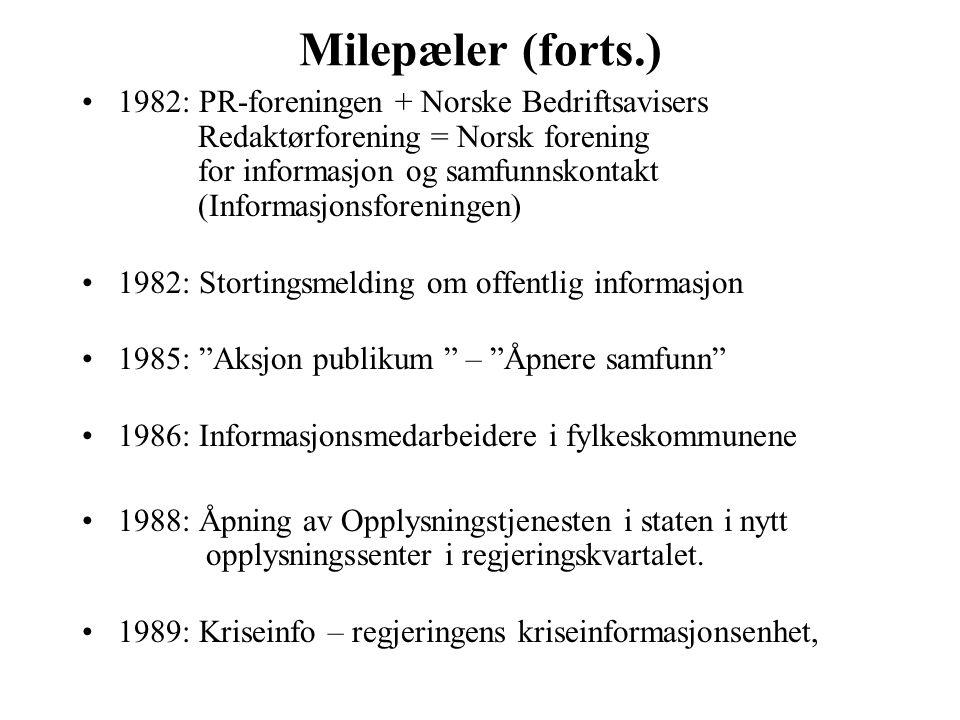 Milepæler (forts.) 1982: PR-foreningen + Norske Bedriftsavisers Redaktørforening = Norsk forening for informasjon og samfunnskontakt (Informasjonsfore