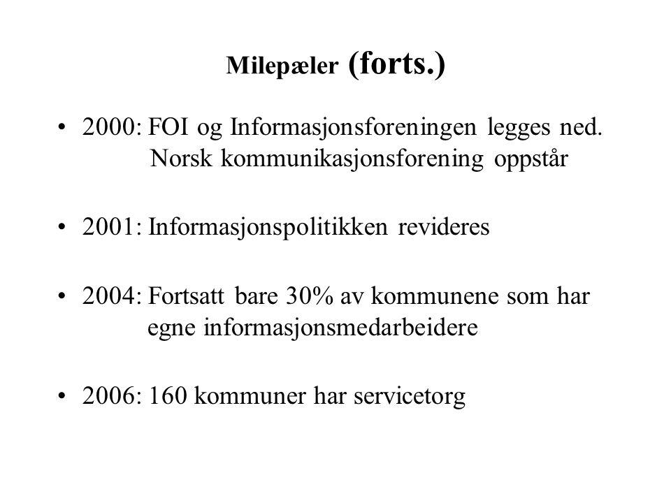 Milepæler (forts.) 2000: FOI og Informasjonsforeningen legges ned. Norsk kommunikasjonsforening oppstår 2001: Informasjonspolitikken revideres 2004: F