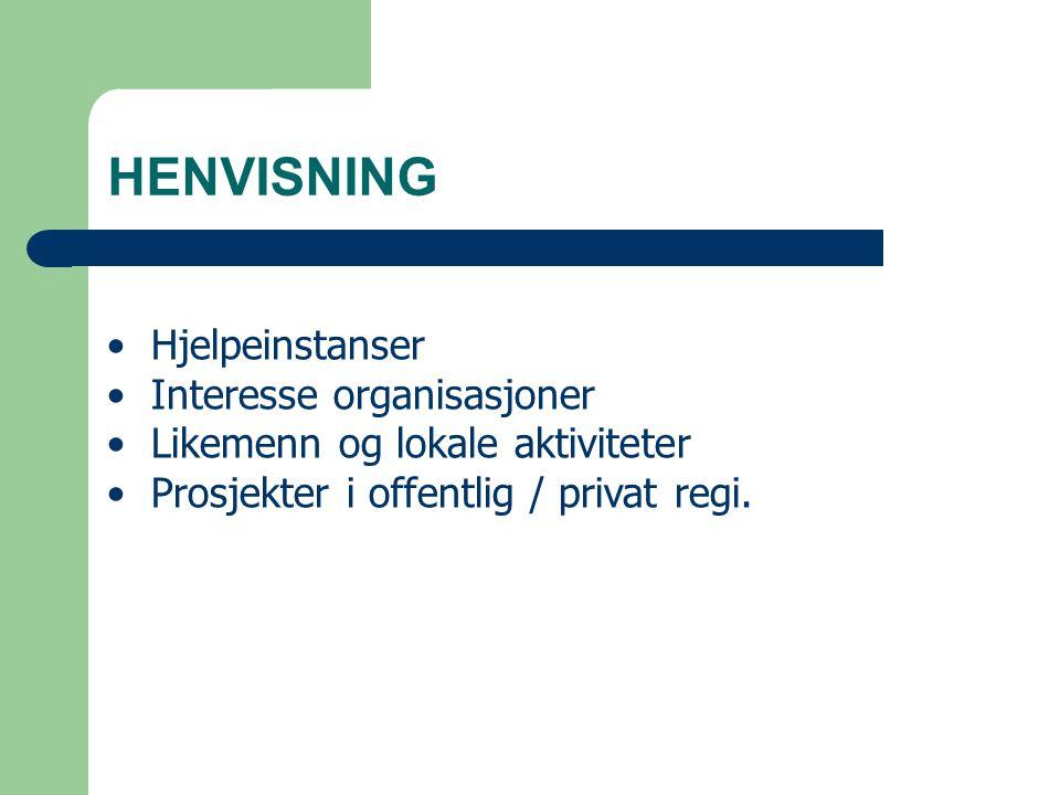 HENVISNING Hjelpeinstanser Interesse organisasjoner Likemenn og lokale aktiviteter Prosjekter i offentlig / privat regi.