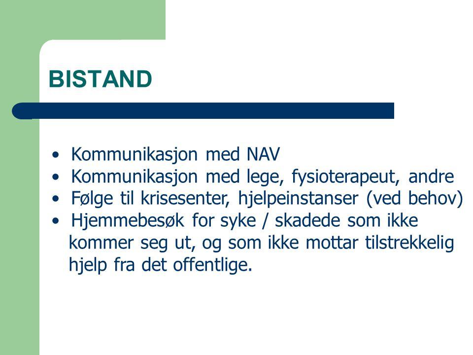 BISTAND Kommunikasjon med NAV Kommunikasjon med lege, fysioterapeut, andre Følge til krisesenter, hjelpeinstanser (ved behov) Hjemmebesøk for syke / s