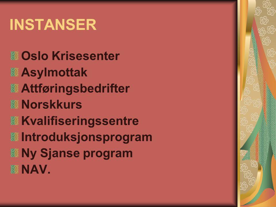 INSTANSER Oslo Krisesenter Asylmottak Attføringsbedrifter Norskkurs Kvalifiseringssentre Introduksjonsprogram Ny Sjanse program NAV.
