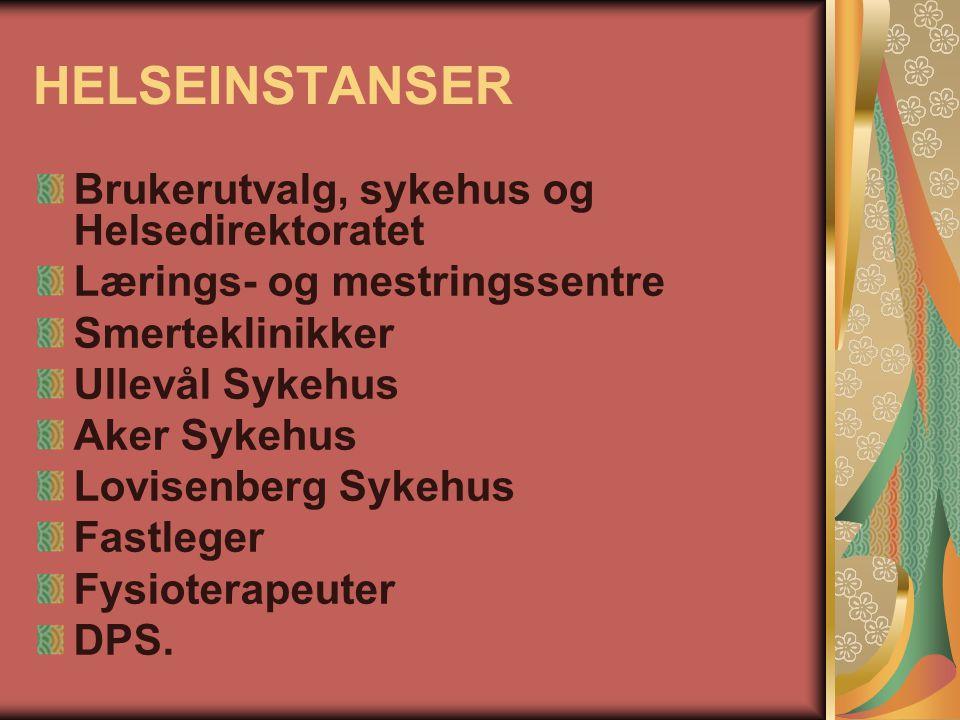 HELSEINSTANSER Brukerutvalg, sykehus og Helsedirektoratet Lærings- og mestringssentre Smerteklinikker Ullevål Sykehus Aker Sykehus Lovisenberg Sykehus
