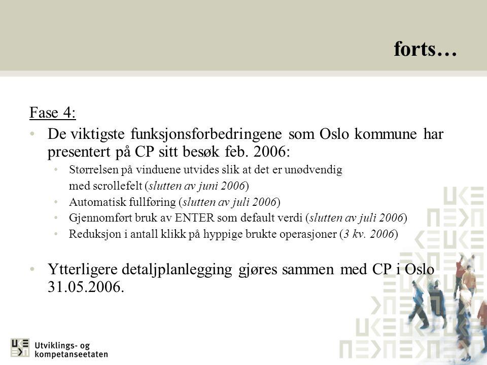 forts… Fase 4: De viktigste funksjonsforbedringene som Oslo kommune har presentert på CP sitt besøk feb.