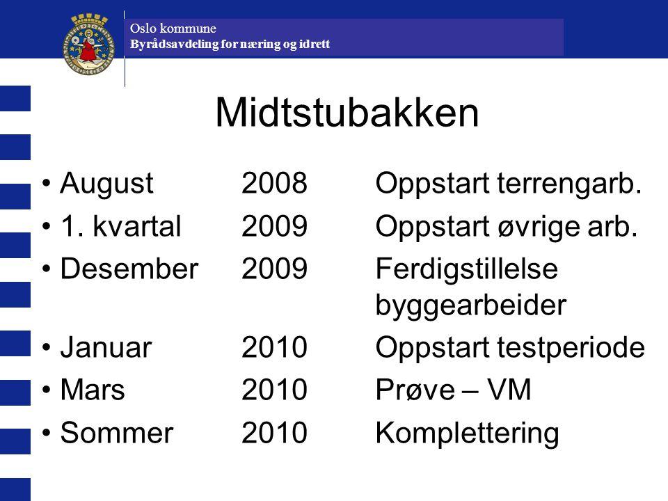 Oslo kommune Idrettsetaten Midtstubakken August 2008Oppstart terrengarb. 1. kvartal 2009Oppstart øvrige arb. Desember 2009Ferdigstillelse byggearbeide