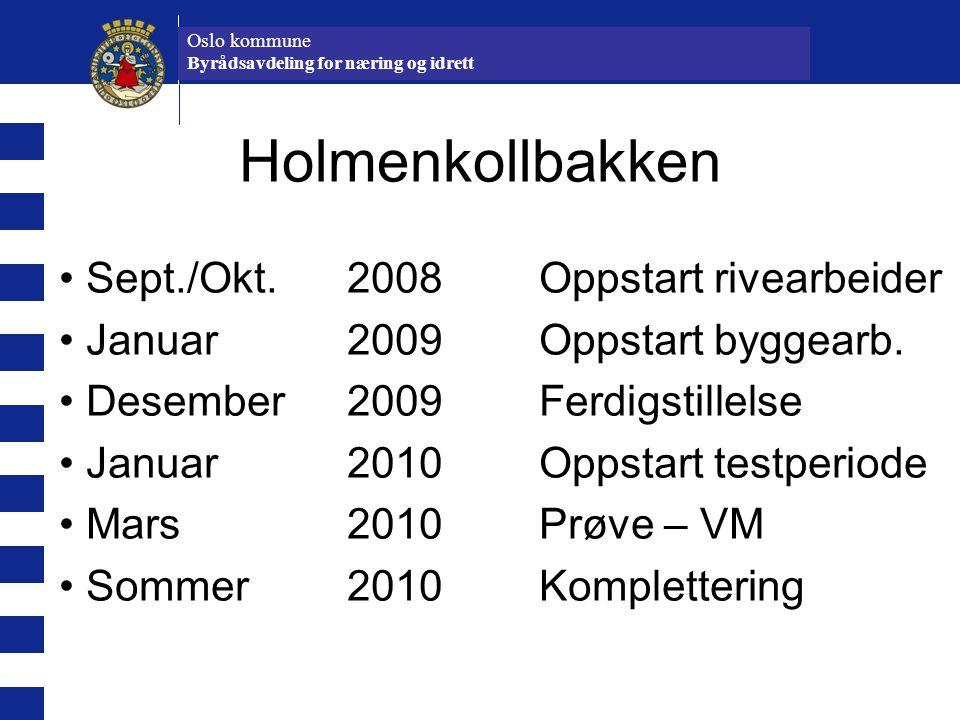 Oslo kommune Idrettsetaten Holmenkollbakken Sept./Okt. 2008Oppstart rivearbeider Januar 2009Oppstart byggearb. Desember 2009Ferdigstillelse Januar 201