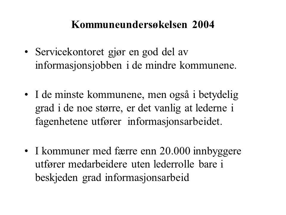 Kommuneundersøkelsen 2004 Servicekontoret gjør en god del av informasjonsjobben i de mindre kommunene.