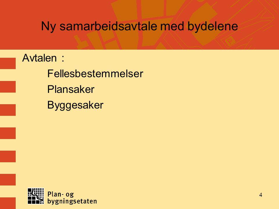4 Ny samarbeidsavtale med bydelene Avtalen : Fellesbestemmelser Plansaker Byggesaker 4