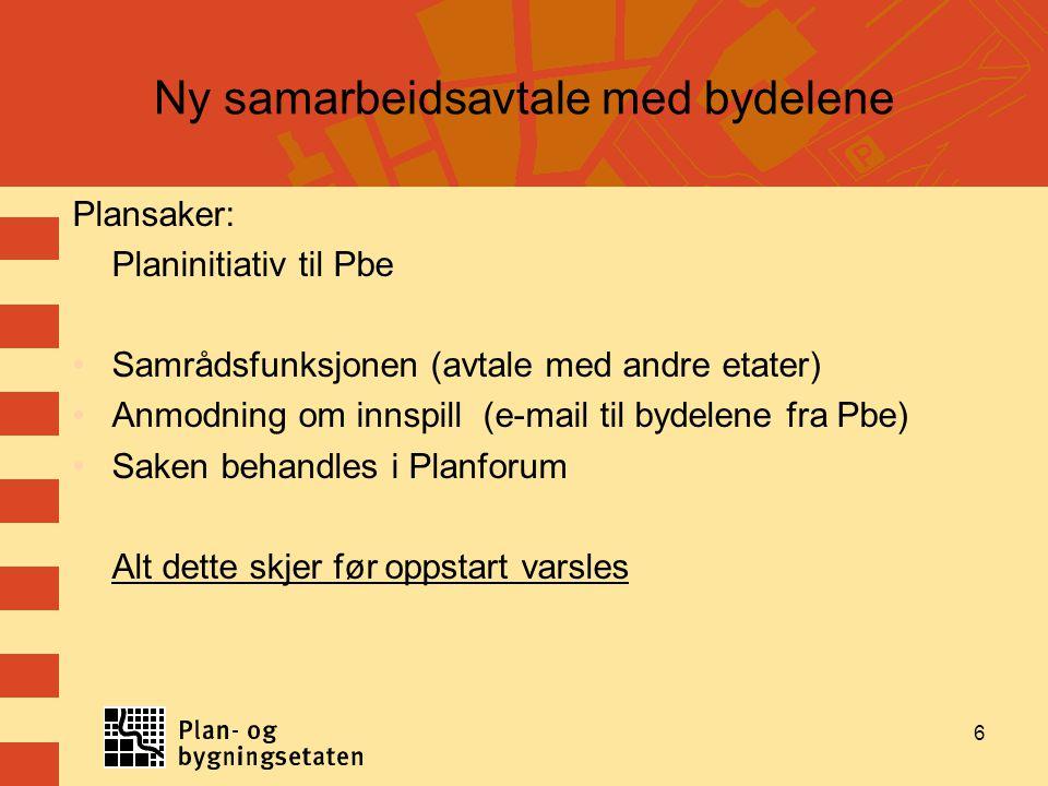 6 Ny samarbeidsavtale med bydelene Plansaker: Planinitiativ til Pbe Samrådsfunksjonen (avtale med andre etater) Anmodning om innspill (e-mail til byde