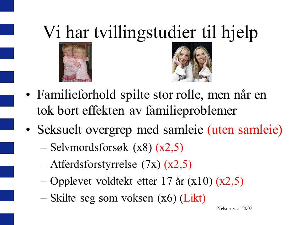 Vi har tvillingstudier til hjelp Familieforhold spilte stor rolle, men når en tok bort effekten av familieproblemer Seksuelt overgrep med samleie (ute