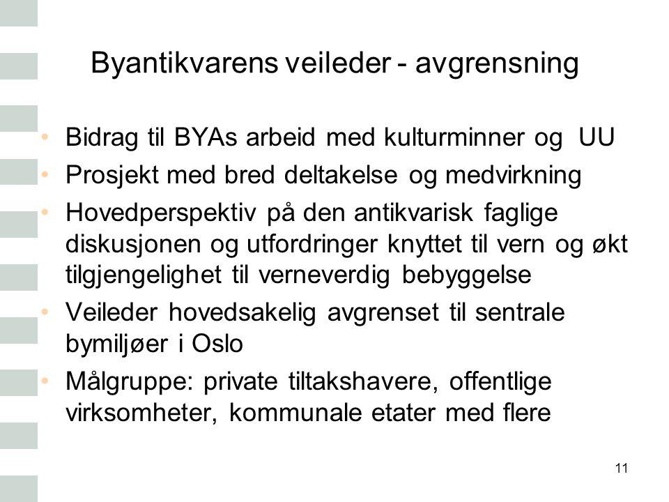 Byantikvarens veileder - avgrensning Bidrag til BYAs arbeid med kulturminner og UU Prosjekt med bred deltakelse og medvirkning Hovedperspektiv på den