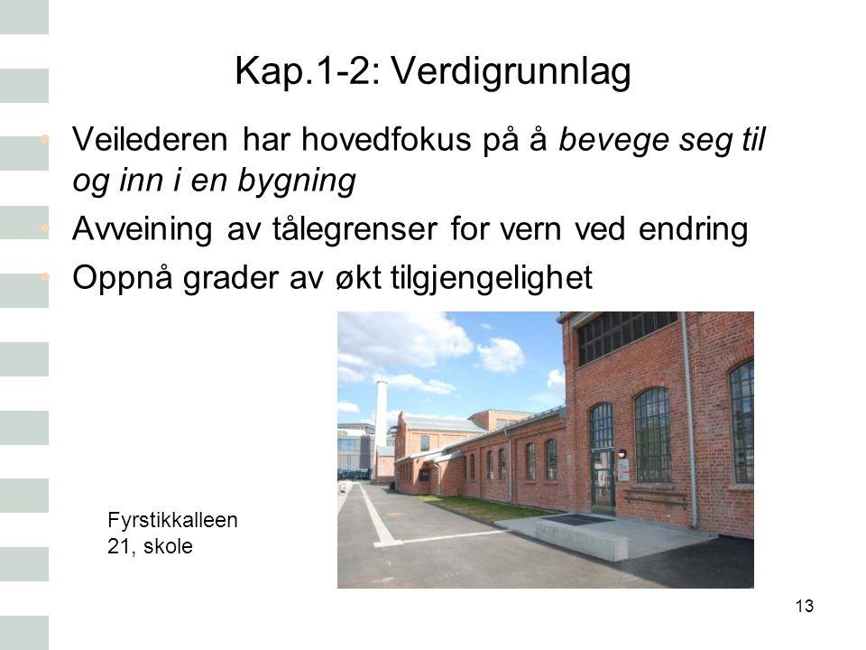 Kap.1-2: Verdigrunnlag Veilederen har hovedfokus på å bevege seg til og inn i en bygning Avveining av tålegrenser for vern ved endring Oppnå grader av