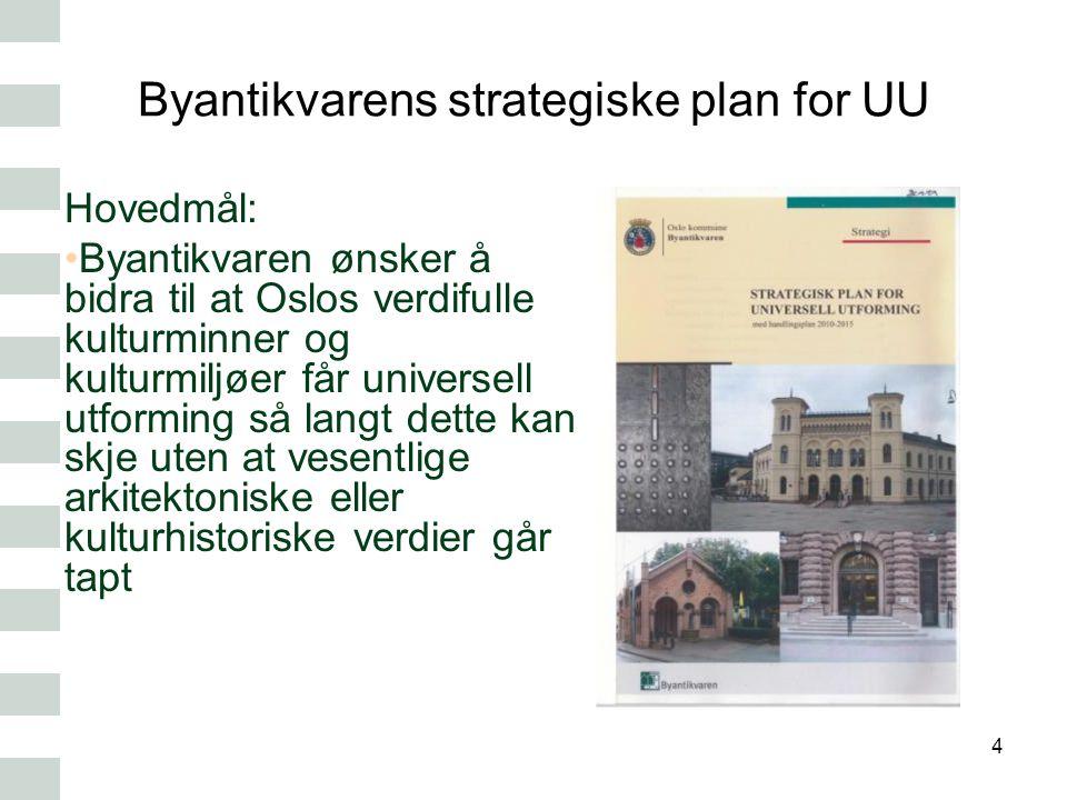 Byantikvarens strategiske plan for UU Hovedmål: Byantikvaren ønsker å bidra til at Oslos verdifulle kulturminner og kulturmiljøer får universell utfor