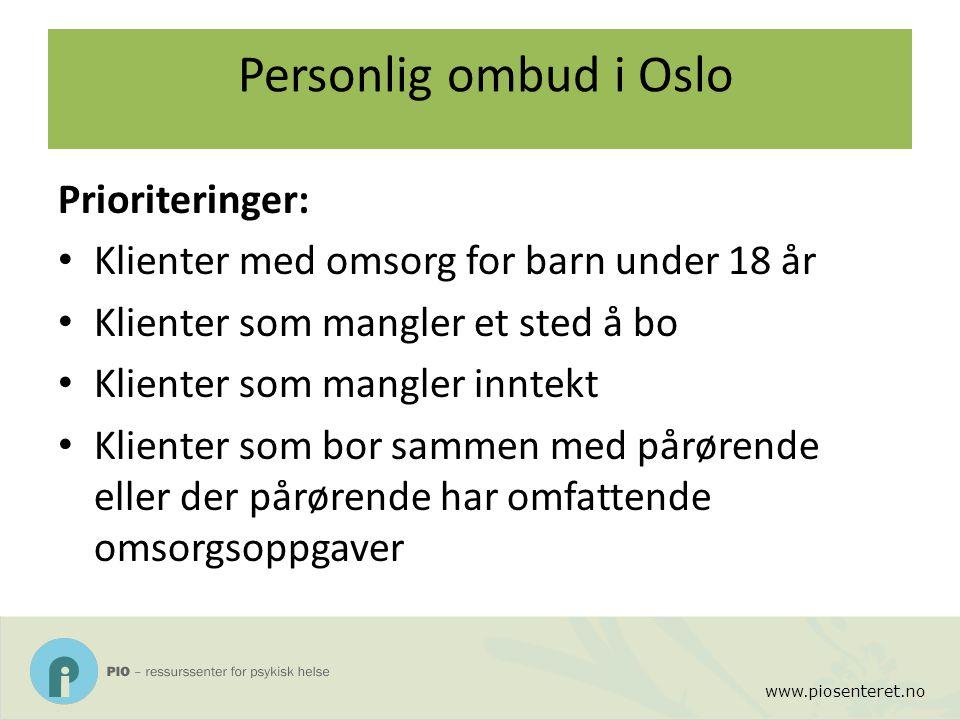 www.piosenteret.no Personlig ombud i Oslo Prioriteringer: Klienter med omsorg for barn under 18 år Klienter som mangler et sted å bo Klienter som mang