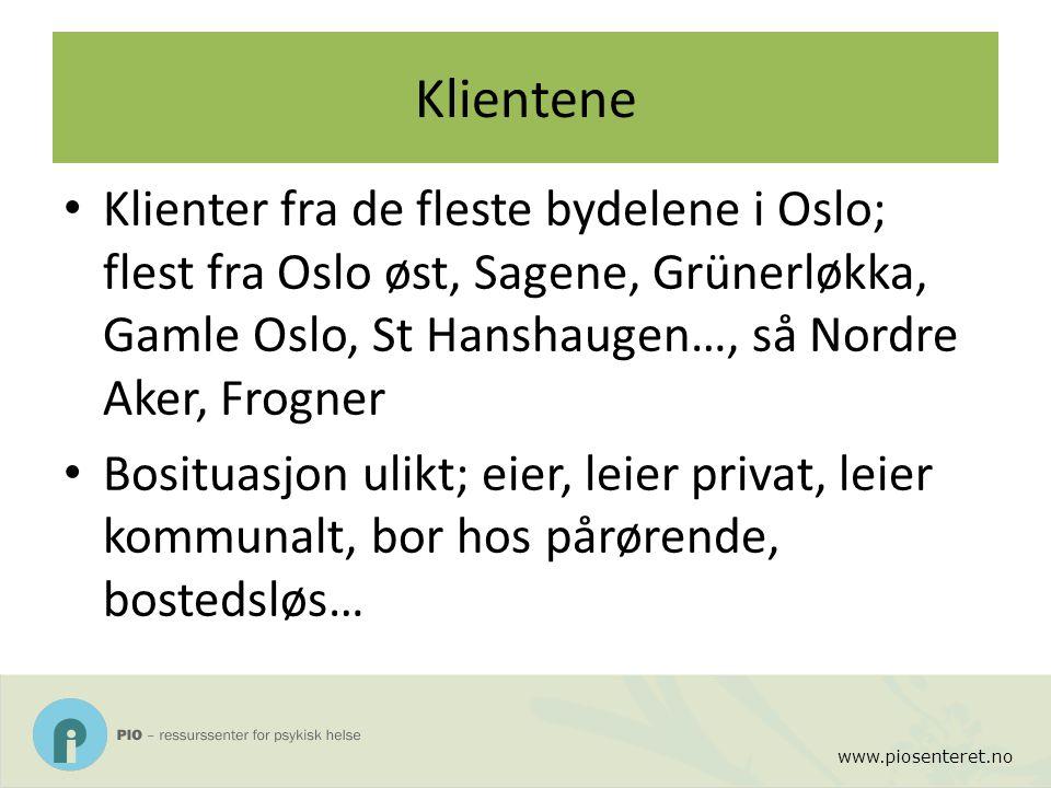 www.piosenteret.no Klientene Klienter fra de fleste bydelene i Oslo; flest fra Oslo øst, Sagene, Grünerløkka, Gamle Oslo, St Hanshaugen…, så Nordre Ak