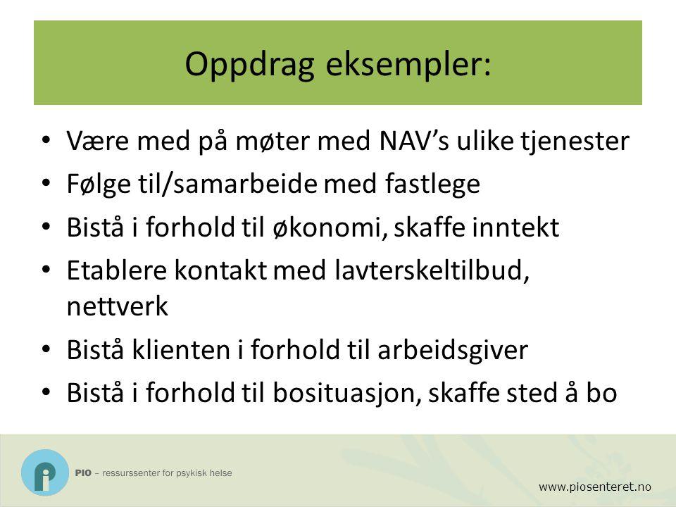 www.piosenteret.no Oppdrag eksempler: Være med på møter med NAV's ulike tjenester Følge til/samarbeide med fastlege Bistå i forhold til økonomi, skaff