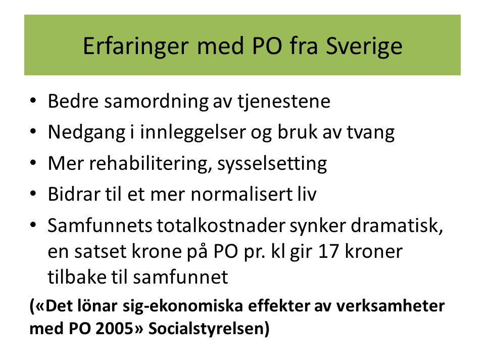 Erfaringer med PO fra Sverige Bedre samordning av tjenestene Nedgang i innleggelser og bruk av tvang Mer rehabilitering, sysselsetting Bidrar til et m