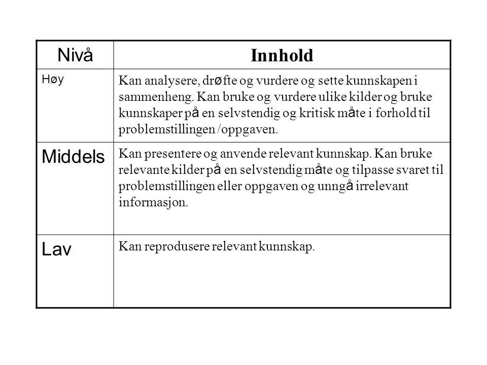 Nivå Innhold Høy Kan analysere, dr ø fte og vurdere og sette kunnskapen i sammenheng. Kan bruke og vurdere ulike kilder og bruke kunnskaper p å en sel