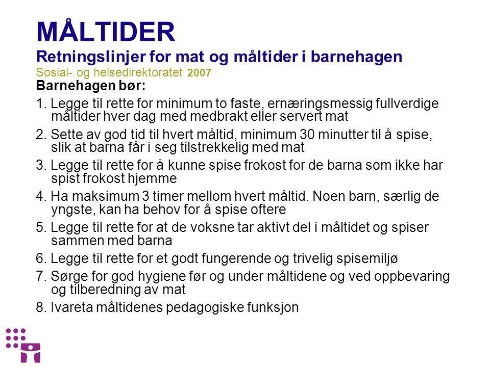 MAT OG DRIKKE Retningslinjer for mat og måltider i barnehagen Sosial og helsedirektoratet 2007 9.