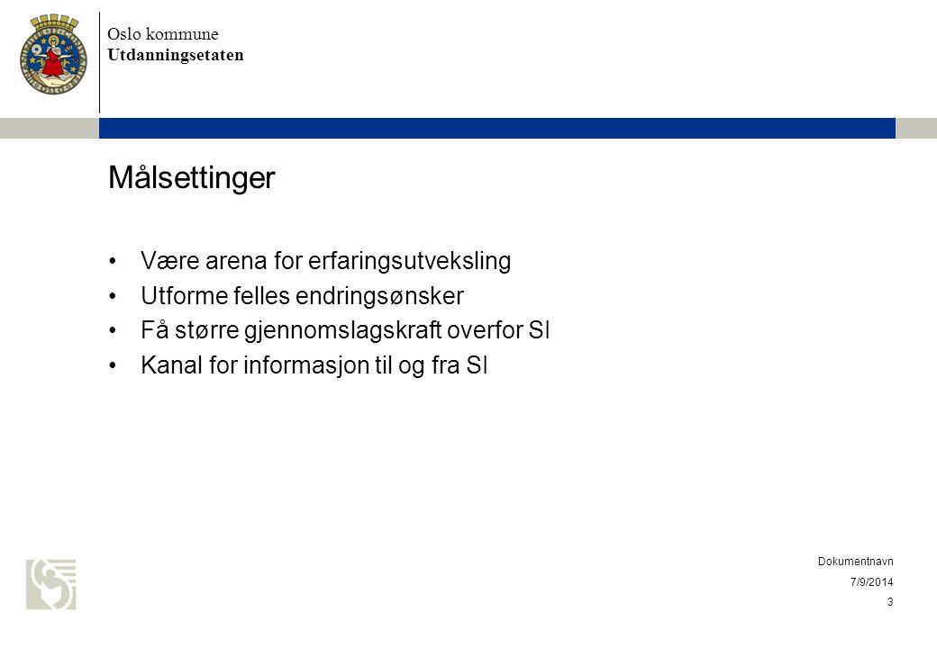 Oslo kommune Utdanningsetaten Målsettinger Være arena for erfaringsutveksling Utforme felles endringsønsker Få større gjennomslagskraft overfor SI Kan