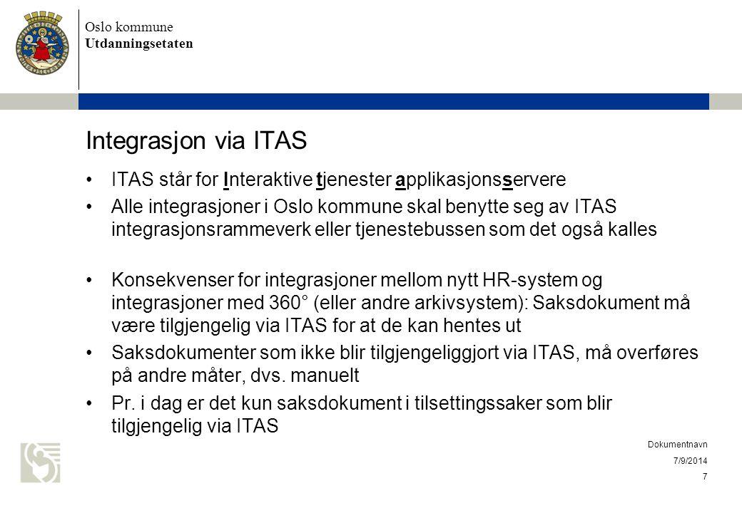 Oslo kommune Utdanningsetaten Integrasjon via ITAS ITAS står for Interaktive tjenester applikasjonsservere Alle integrasjoner i Oslo kommune skal beny