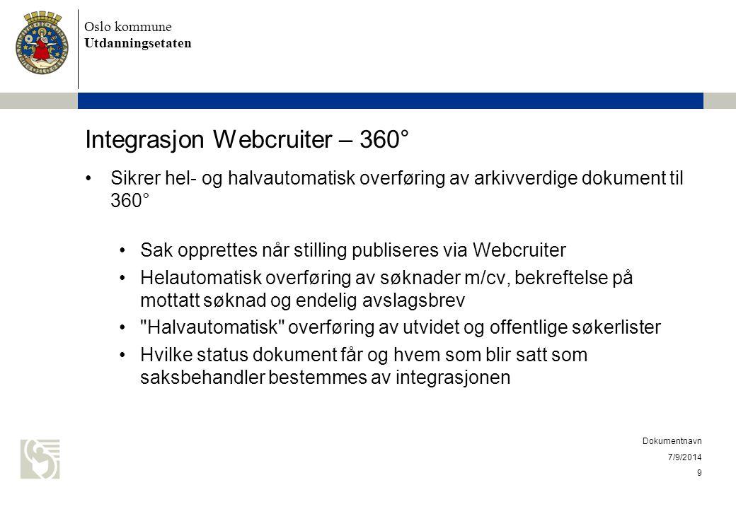 Oslo kommune Utdanningsetaten Integrasjon Webcruiter – 360° Sikrer hel- og halvautomatisk overføring av arkivverdige dokument til 360° Sak opprettes n