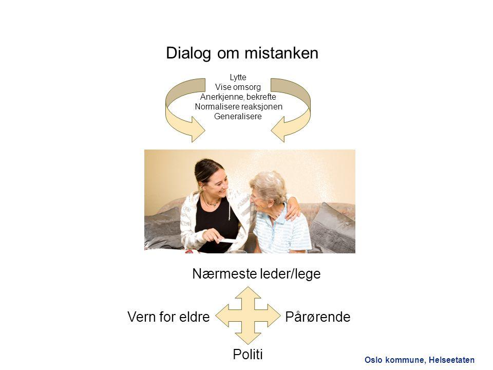 Oslo kommune, Helseetaten Dialog om mistanken Lytte Vise omsorg Anerkjenne, bekrefte Normalisere reaksjonen Generalisere Pårørende Nærmeste leder/lege
