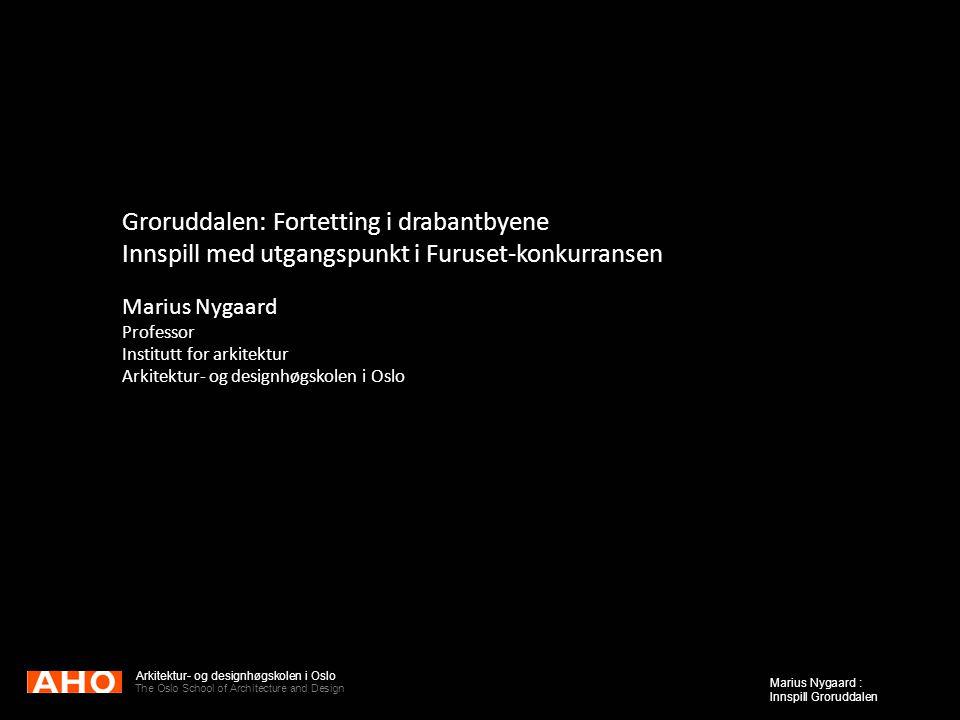 Arkitektur- og designhøgskolen i Oslo The Oslo School of Architecture and Design Marius Nygaard : Innspill Groruddalen Groruddalen: Fortetting i draba