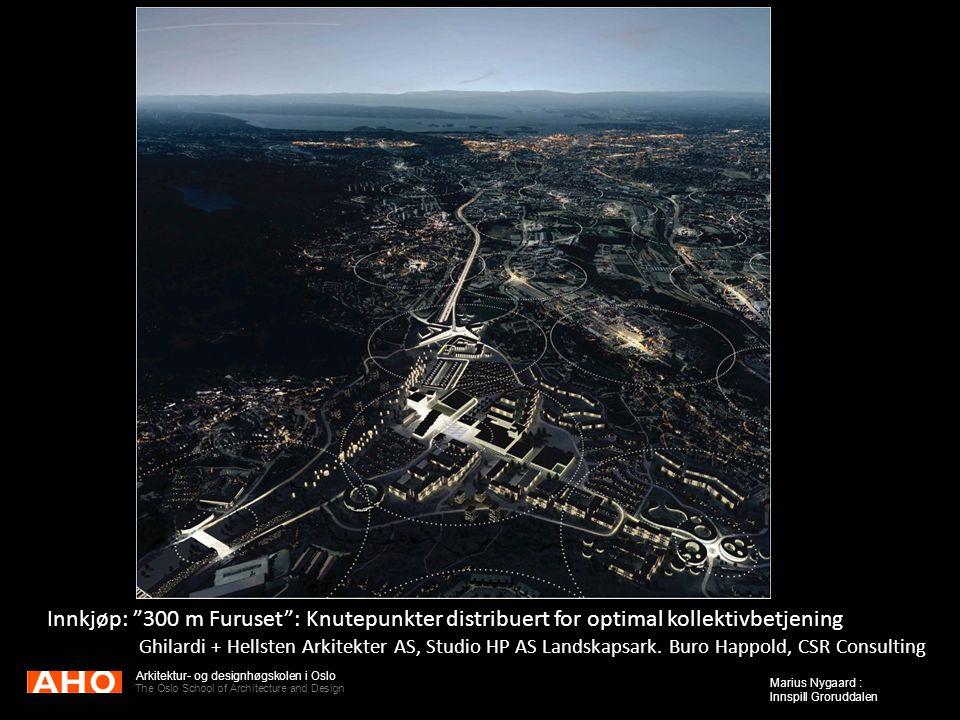 "Arkitektur- og designhøgskolen i Oslo The Oslo School of Architecture and Design Marius Nygaard : Innspill Groruddalen Innkjøp: ""300 m Furuset"": Knute"