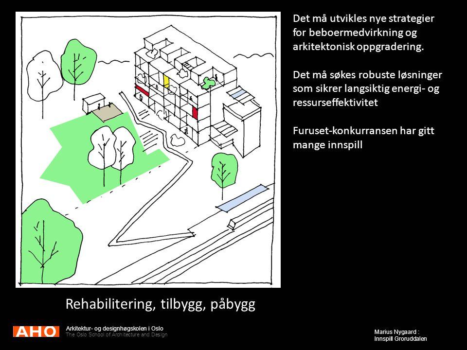 Arkitektur- og designhøgskolen i Oslo The Oslo School of Architecture and Design Marius Nygaard : Innspill Groruddalen Rehabilitering, tilbygg, påbygg