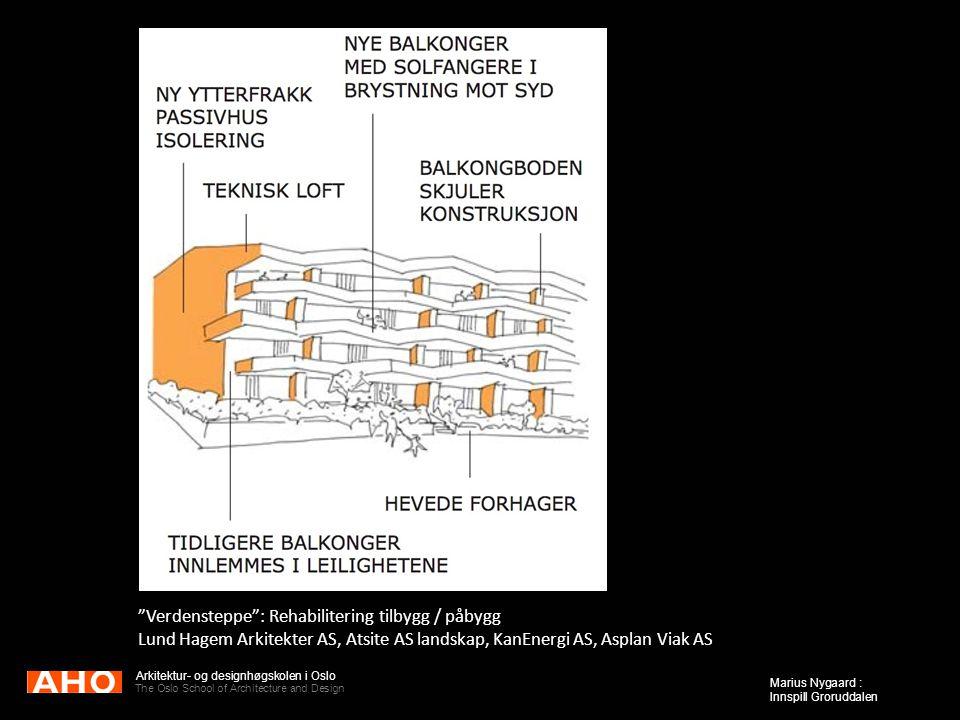 "Arkitektur- og designhøgskolen i Oslo The Oslo School of Architecture and Design Marius Nygaard : Innspill Groruddalen ""Verdensteppe"": Rehabilitering"