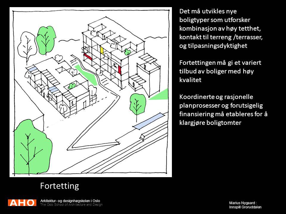 Arkitektur- og designhøgskolen i Oslo The Oslo School of Architecture and Design Marius Nygaard : Innspill Groruddalen Fortetting Det må utvikles nye