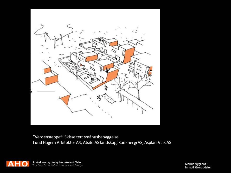 "Arkitektur- og designhøgskolen i Oslo The Oslo School of Architecture and Design Marius Nygaard : Innspill Groruddalen ""Verdensteppe"": Skisse tett små"