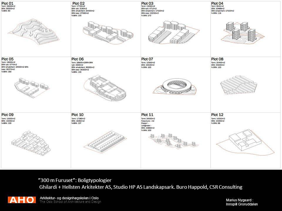 "Arkitektur- og designhøgskolen i Oslo The Oslo School of Architecture and Design Marius Nygaard : Innspill Groruddalen ""300 m Furuset"": Boligtypologie"