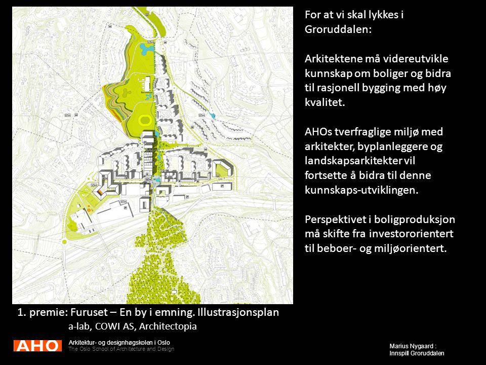 Arkitektur- og designhøgskolen i Oslo The Oslo School of Architecture and Design Marius Nygaard : Innspill Groruddalen 1. premie: Furuset – En by i em