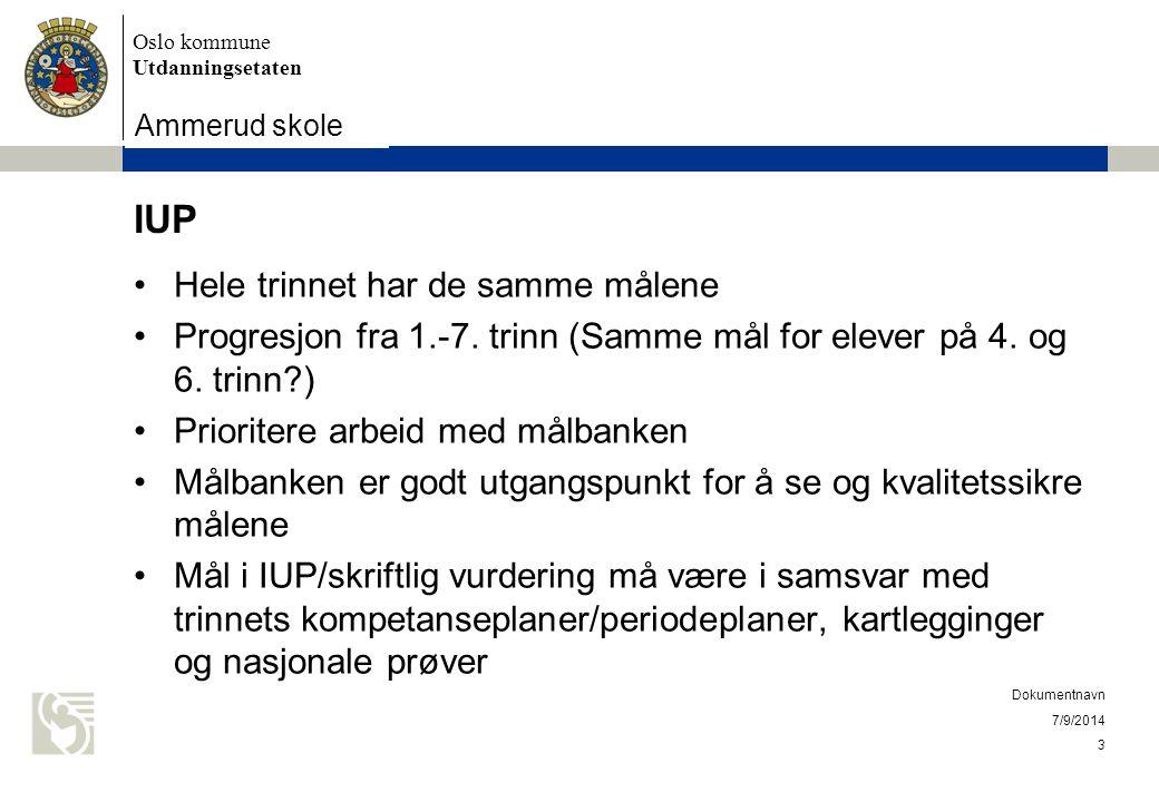 Oslo kommune Utdanningsetaten Skolens navn settes inn her 7/9/2014 Dokumentnavn 3 IUP Hele trinnet har de samme målene Progresjon fra 1.-7.