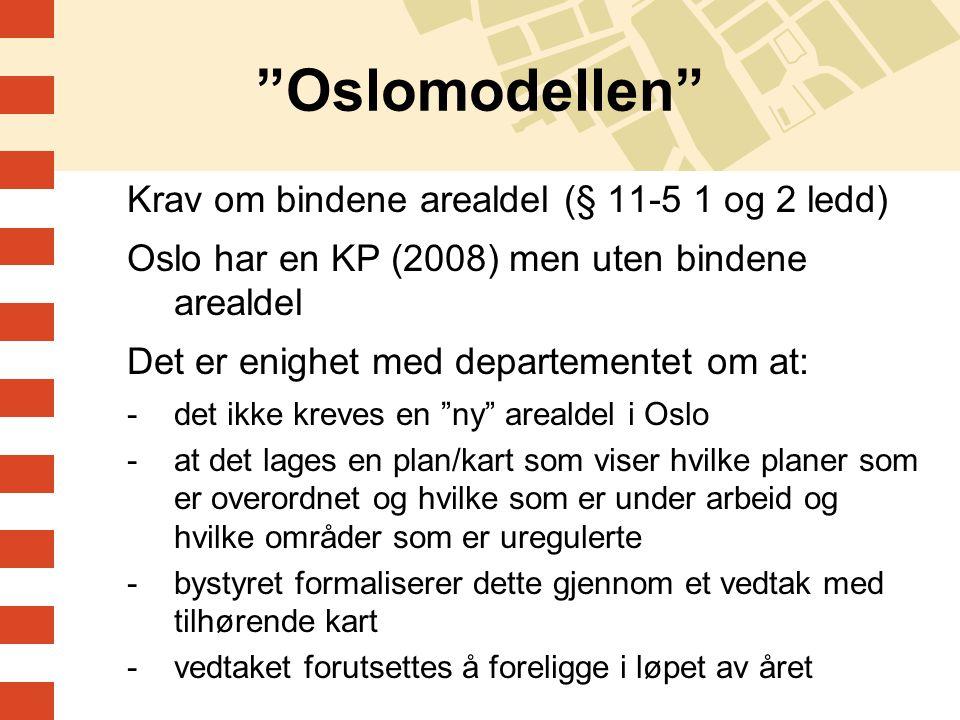 """""""Oslomodellen"""" Krav om bindene arealdel (§ 11-5 1 og 2 ledd) Oslo har en KP (2008) men uten bindene arealdel Det er enighet med departementet om at: -"""