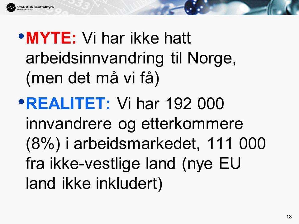 18 MYTE: Vi har ikke hatt arbeidsinnvandring til Norge, (men det må vi få) REALITET: Vi har 192 000 innvandrere og etterkommere (8%) i arbeidsmarkedet