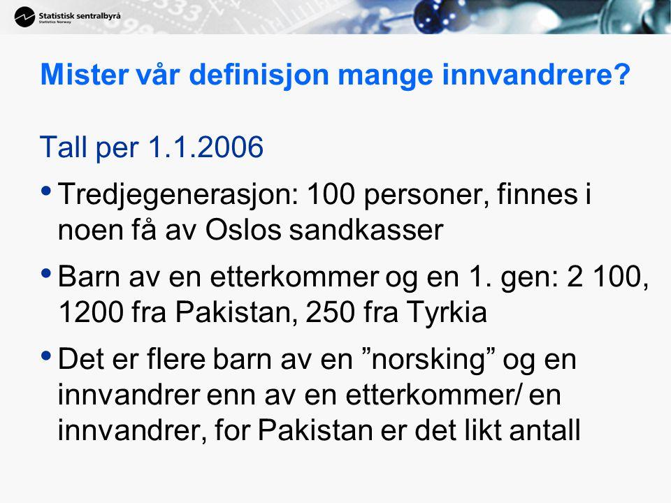 Mister vår definisjon mange innvandrere? Tall per 1.1.2006 Tredjegenerasjon: 100 personer, finnes i noen få av Oslos sandkasser Barn av en etterkommer