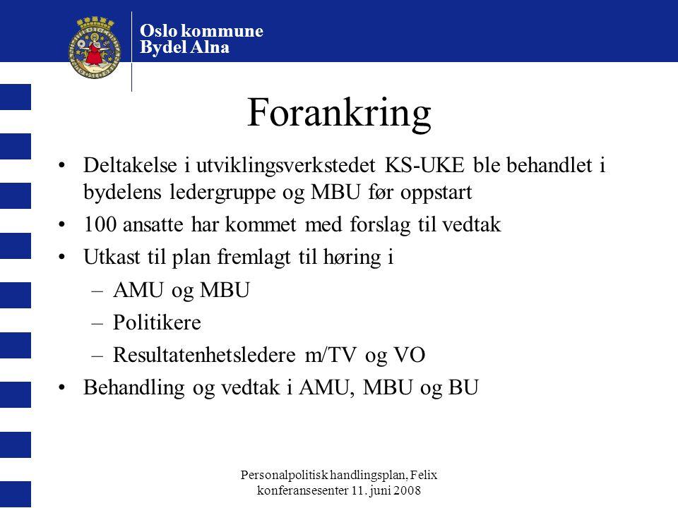 Oslo kommune Bydel Alna Personalpolitisk handlingsplan, Felix konferansesenter 11. juni 2008 Forankring Deltakelse i utviklingsverkstedet KS-UKE ble b