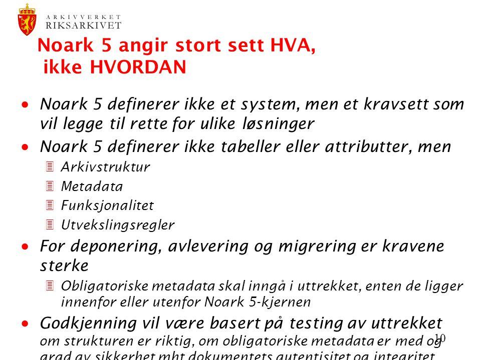 10 Noark 5 angir stort sett HVA, ikke HVORDAN  Noark 5 definerer ikke et system, men et kravsett som vil legge til rette for ulike løsninger  Noark