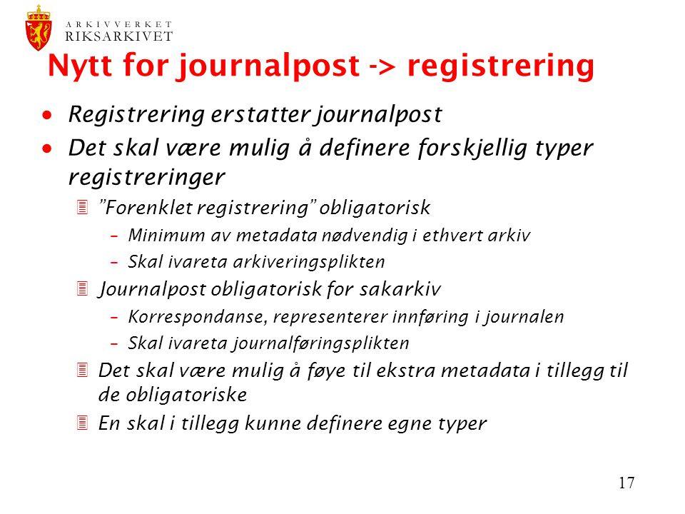"""17 Nytt for journalpost -> registrering  Registrering erstatter journalpost  Det skal være mulig å definere forskjellig typer registreringer 3""""Foren"""