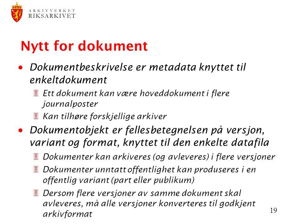 19 Nytt for dokument  Dokumentbeskrivelse er metadata knyttet til enkeltdokument 3Ett dokument kan være hoveddokument i flere journalposter 3Kan tilh