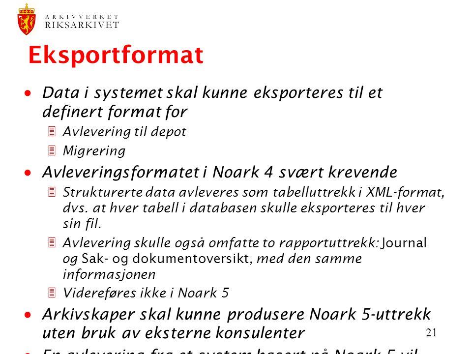 21 Eksportformat  Data i systemet skal kunne eksporteres til et definert format for 3Avlevering til depot 3Migrering  Avleveringsformatet i Noark 4