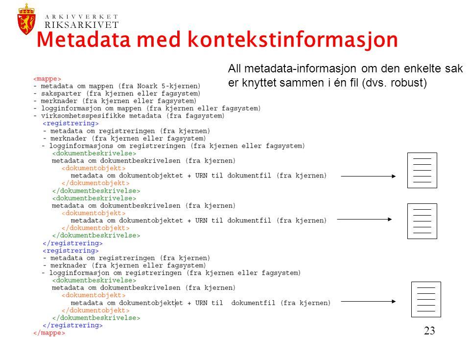 23 Metadata med kontekstinformasjon All metadata-informasjon om den enkelte sak er knyttet sammen i én fil (dvs. robust)