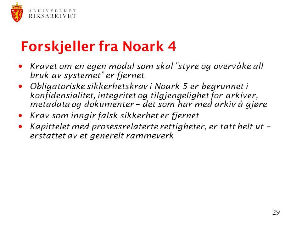 """29 Forskjeller fra Noark 4  Kravet om en egen modul som skal """"styre og overvåke all bruk av systemet"""" er fjernet  Obligatoriske sikkerhetskrav i Noa"""
