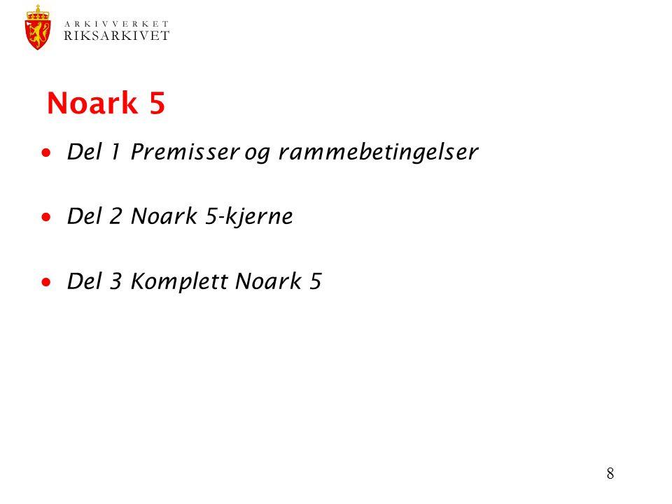 8 Noark 5  Del 1 Premisser og rammebetingelser  Del 2 Noark 5-kjerne  Del 3 Komplett Noark 5
